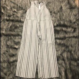 NWT Anthropologie Drew striped jumpsuit black/grey